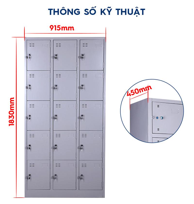 Thông số kỹ thuật Tủ Locker 15 cánh TU-K15